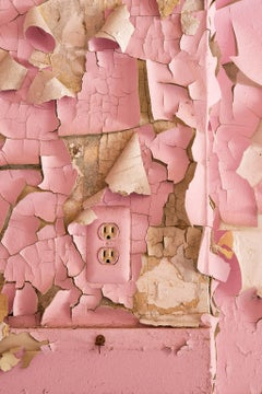 """Linger"", color photograph, abandoned, peeling paint, outlet, metal print, pink"