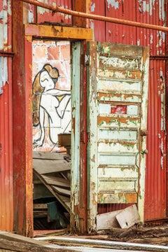 """Peep Show"", metal print, color photo, abandoned, graffiti, woman, figure, red"