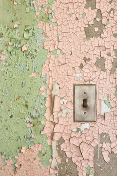 """""""Power"""", color photograph, metal print, pink, green, electrical switch, texture"""
