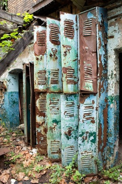"""""""Prolonged"""", color photograph, abandoned, lockers, nature, rust, blue, green"""