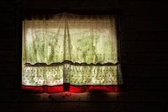 """""""Remember"""", color photograph, vintage, curtain, metal print, green, red"""