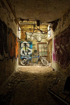 """""""Ride On"""", abandoned, motorcycle, color photograph, graffiti, blue, dark, gritty"""
