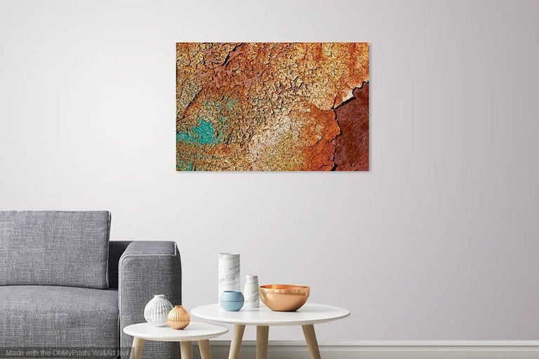 "Rebecca Skinner's ""Rough Terrain"" is part of a her texture series taking an up-close look rusted and/or weathered metal. The 16 x 24 inch abstract color photo with satin finish is infused directly into metal making it waterproof and easy to clean."