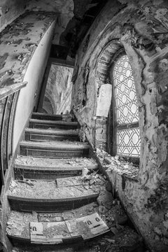 """""""Sanctum"""", photograph, church, abandoned, staircase, window, black and white"""