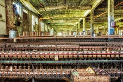 """Silk Mill"", color photograph, abandoned, machines, metal print, industrial"