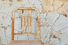 """Simple Chair"", color photograph, abandoned, rust, peeling paint, blue, beige"