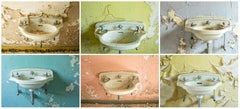 """Sink I - VI"", color photograph, abandoned, pink, blue, green, yellow, beige"