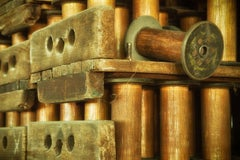 """""""Spools"""", color photograph, abandoned silk mill, industrial, vintage, brown"""