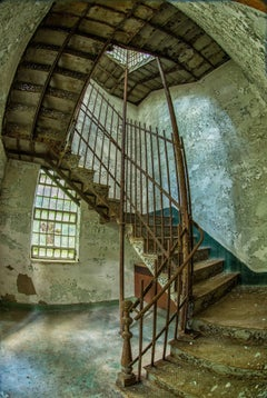 """""""Stairway"""", color photograph, abandoned, asylum, steel, iron, green"""