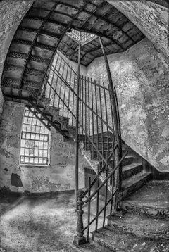 """""""Stairway"""", photograph, black and white, abandoned, iron, steel, fisheye"""