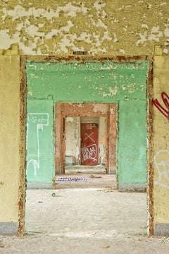"""""""Succession"""", color photograph, abandoned, doorways, yellow, pink, green, red"""