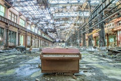 """""""The Piano"""", color photograph, industrial, abandoned, landscape, blue, green"""
