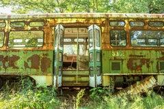 """Trolley Car #3309"", color photo, landscape, green, abandoned, transportation"