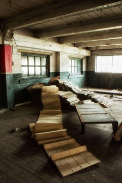 """Unravel"", color photograph, abandoned, factory, industrial, metal print"