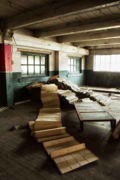 """Unravel"", Rebecca Skinner, abandoned, factory, industrial, metal print"