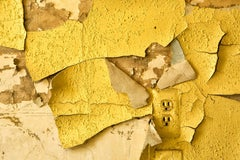 """""""Waning"""", color photograph, abandoned, peeling paint, electrical, outlet, yellow"""