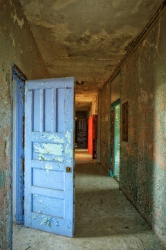 """West Hallway"", color photo, abandoned, metal print, door, blue, red, purple"