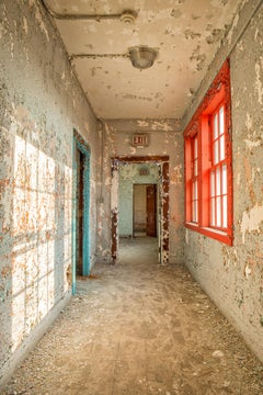 """West Passage"", color photograph, abandoned, hallway, metal print, blue, red"