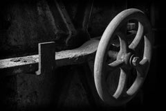 """""""Wheel"""", photograph, abandoned, silk mill, black and white, industrial, vintage"""
