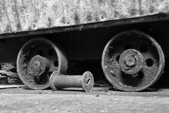 """""""Wheels"""", photograph, black and white, abandoned, silk mill, industrial, vintage"""