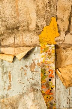 """""""Worn 2"""", Rebecca Skinner, color photograph, metal print, yellow wallpaper"""