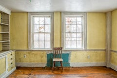 """""""Yellow Room"""", color photograph, abandoned farmhouse, metal print, chair, blue"""