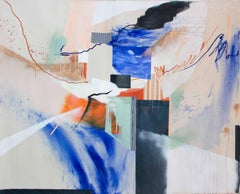Holding Pattern, Abstract Mixed Media Painting Canvas Contemporary Blue Orange