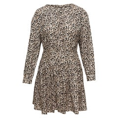 Rebecca Taylor Beige & Multicolor Silk Leopard Print Dress