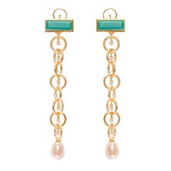 Ammanii Drop Earrings Vermeil Gold with Pearls and Green Chrysoprase