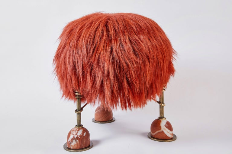 Rebelle Goat Hair, Brass and Marble Ottoman by Kelly Wearstler and Aimee Song In New Condition For Sale In New York, NY