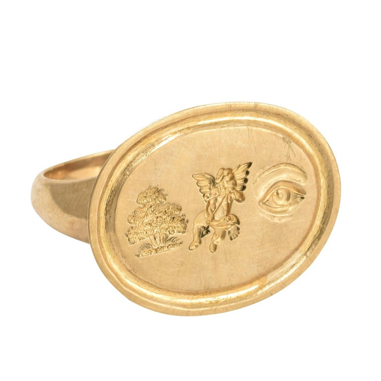 """Rebus Puzzle """"I Love You"""" Gold Signet Ring For Sale"""