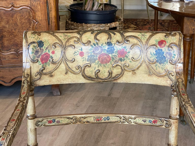 Regency Recamier Chaise Lounge, circa 1830, Polychrome and Caned For Sale