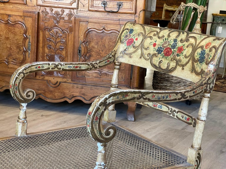 Recamier Chaise Lounge, circa 1830, Polychrome and Caned In Good Condition For Sale In Doylestown, PA