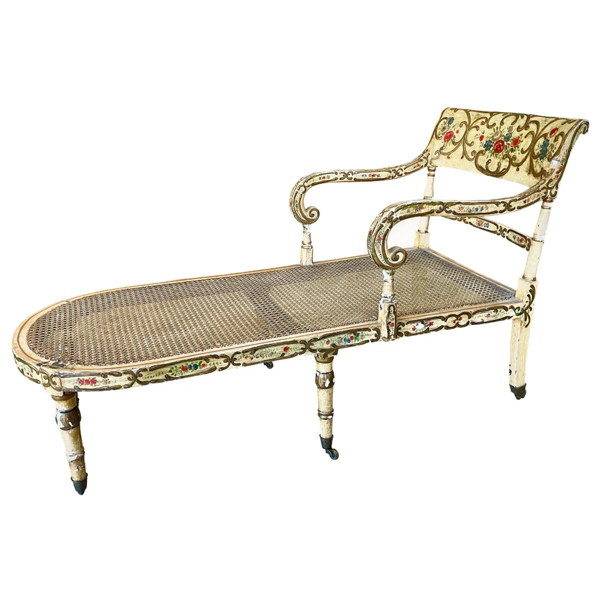 Recamier Chaise Lounge, circa 1830, Polychrome and Caned