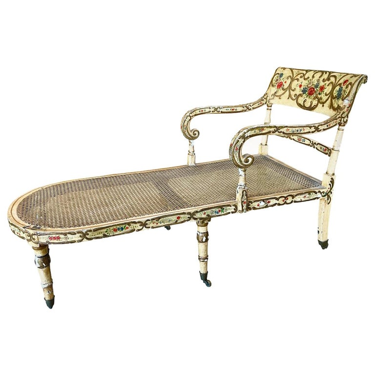 Recamier Chaise Lounge, circa 1830, Polychrome and Caned For Sale
