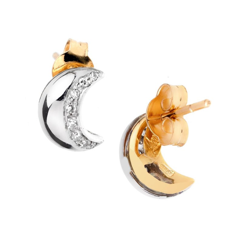 A chic set of Recarlo diamond earrings featuring a moon motif set with round brilliant cut diamonds in 18k white and yellow gold.