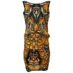 Recent Alexander McQueen Butterfly Print Back Draped Jersey Dress