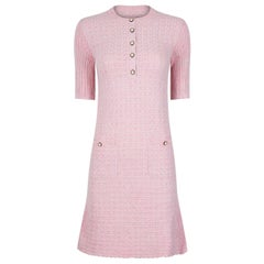 Recent Chanel Sugar Pink and Silver Fine Knit Dress With Pocket Detail