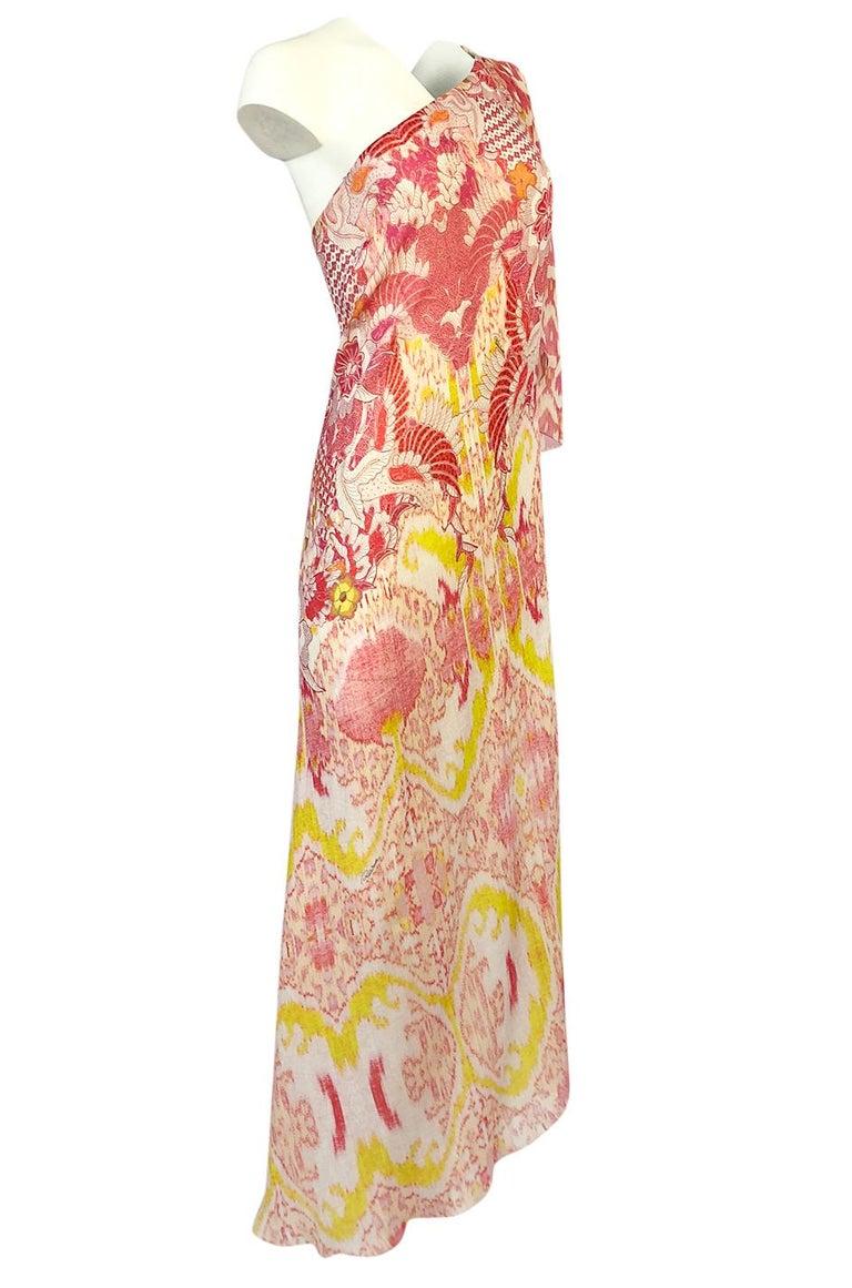Beige Recent Roberto Cavalli Printed Bias Cut Silk One Shoulder Dress For Sale