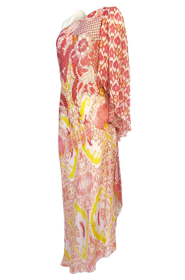 Recent Roberto Cavalli Printed Bias Cut Silk One Shoulder Dress In Excellent Condition For Sale In Rockwood, ON