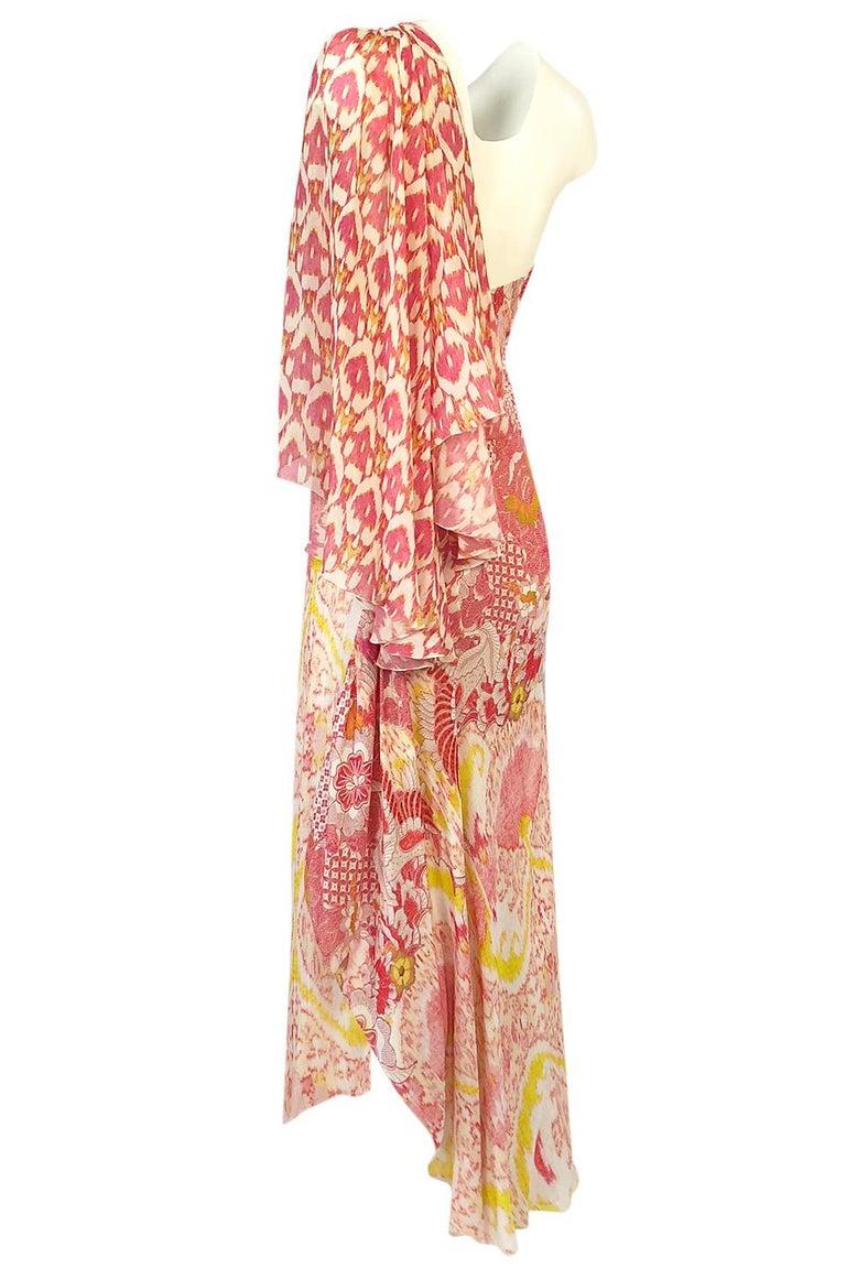 Women's Recent Roberto Cavalli Printed Bias Cut Silk One Shoulder Dress For Sale