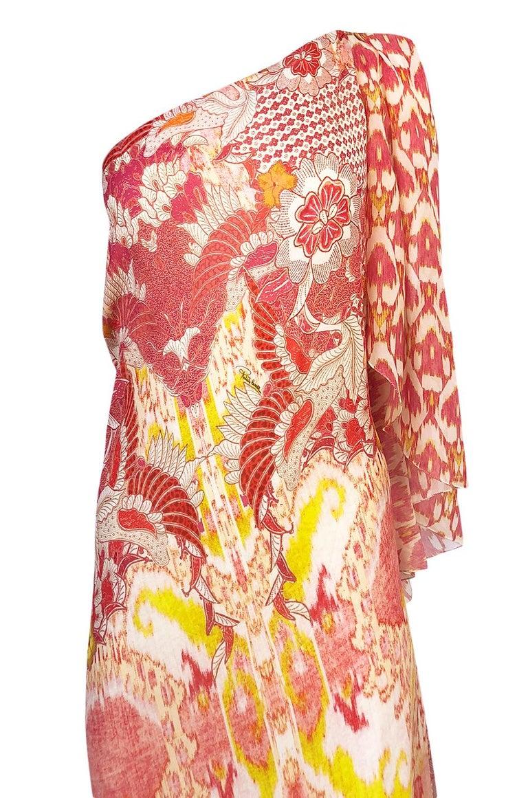 Recent Roberto Cavalli Printed Bias Cut Silk One Shoulder Dress For Sale 1