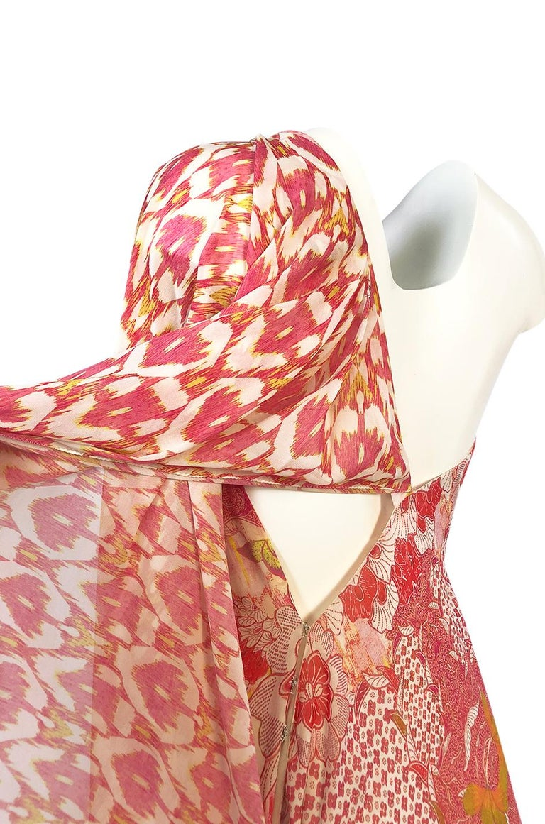 Recent Roberto Cavalli Printed Bias Cut Silk One Shoulder Dress For Sale 3
