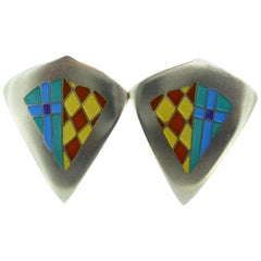 Recent Vintage Earrings in Silver and Enamel, Jane Moore Designs, London, 1994