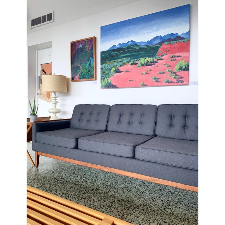 Brushed Recently Reupholstered Florence Knoll Sofa For Sale