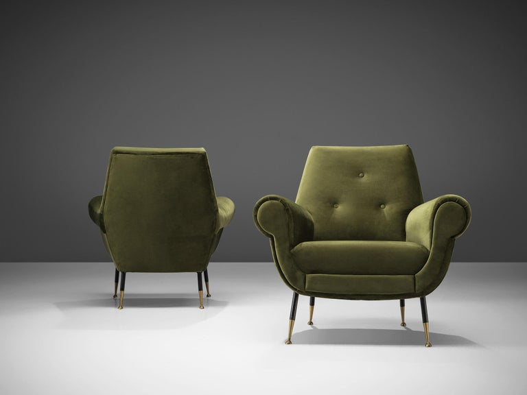 Recently Upholstered Italian Lounge Chairs In Green Velvet And Brass For Sale At 1stdibs