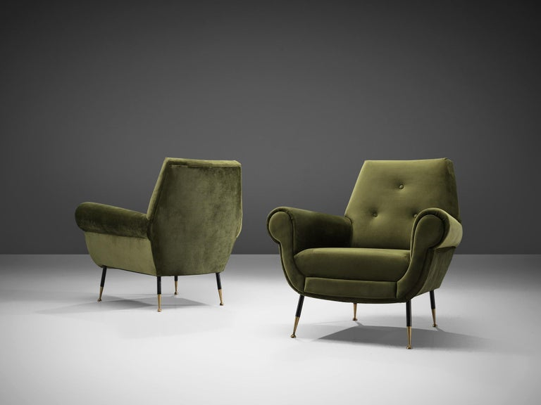 Mid-Century Modern Recently Upholstered Italian Lounge Chairs in Green Velvet and Brass