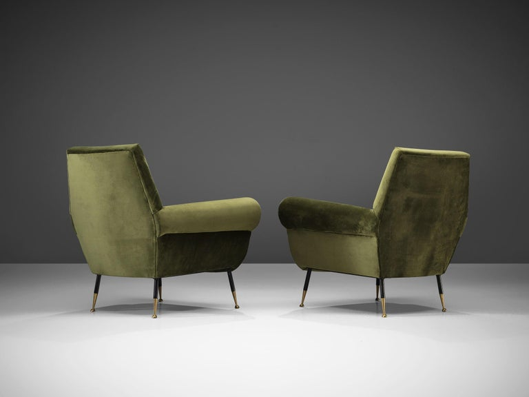 Mid-20th Century Recently Upholstered Italian Lounge Chairs in Green Velvet and Brass