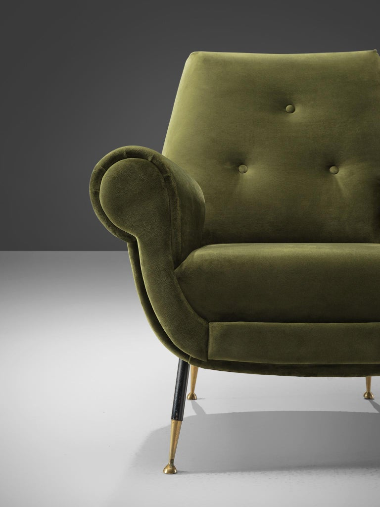 Metal Recently Upholstered Italian Lounge Chairs in Green Velvet and Brass