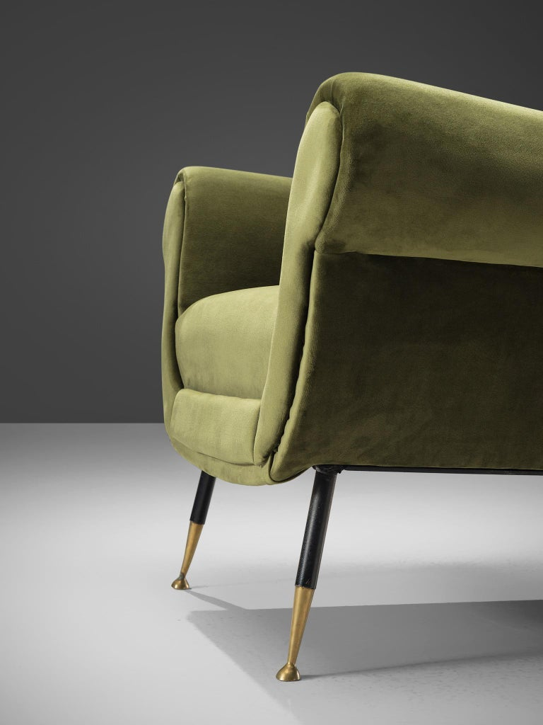 Recently Upholstered Italian Lounge Chairs in Green Velvet and Brass 2